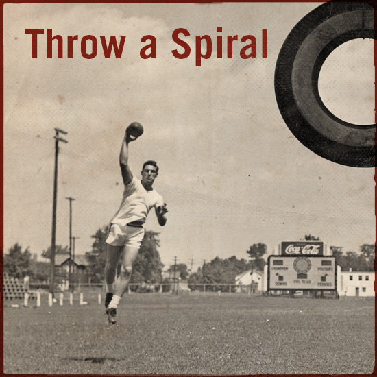 Throwing a spiral.