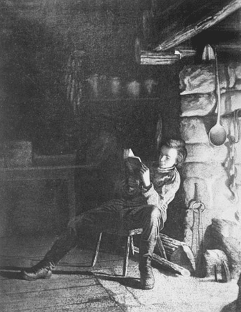 abraham lincoln reading fire boy illustration