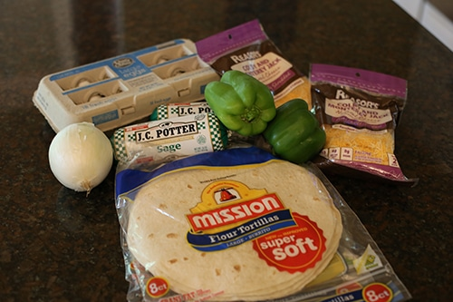 ingredients for homemade frozen breakfast burritos