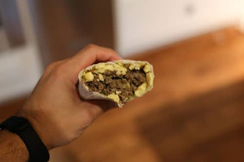 homemade sausage egg cheese burrito