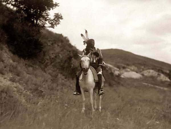 Sioux Indian brave horseback