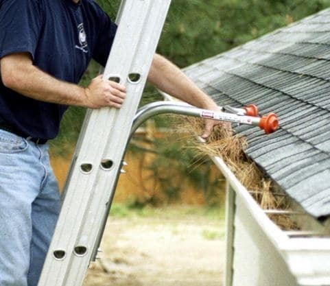 Ladder standoff stabilizers for cleaning gutters.