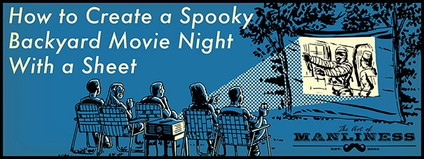 create a backyard movie night with a sheet