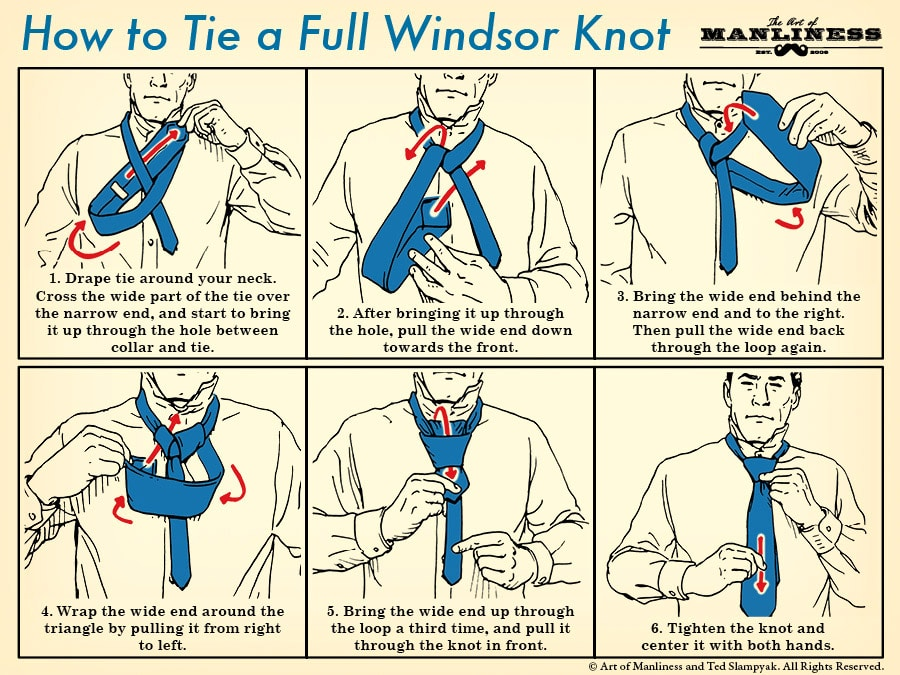 How to tie the full windsor knot the art of manliness how to tie a full windsor knot an illustrated guide ccuart Images