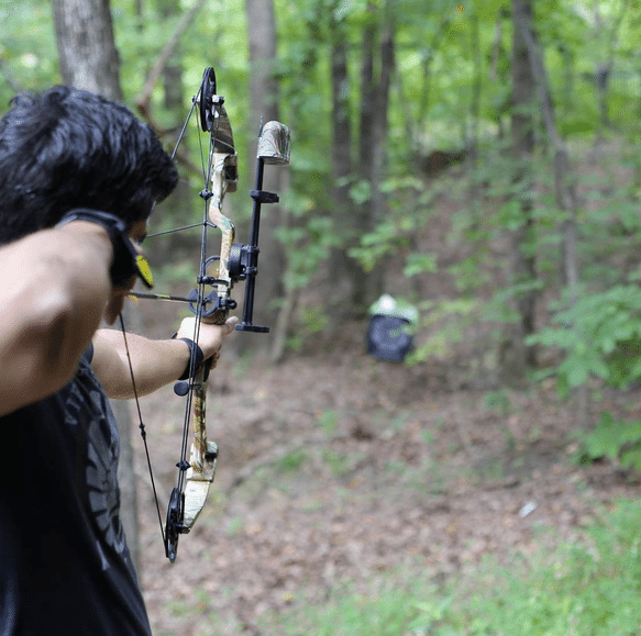 Brett mckay target practice with compound bow.