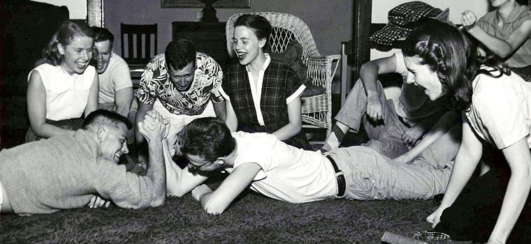 vintage guys arm wrestling co-ed party 1940s 1950s