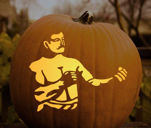boxer pumpkin carving stencil manly halloween