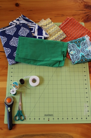 Supplies for diy handmade pocket square in different styles.