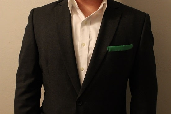 Diy pocket square with suit jacket hem tape.