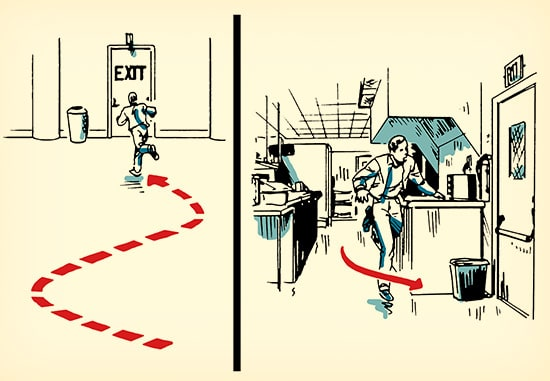 Man running for exit active shooter situation illustration.