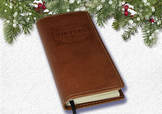 The Benjamin Franklin Virtue Journal with White Christmas Background