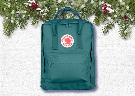 Backpack with White Christmas Background.