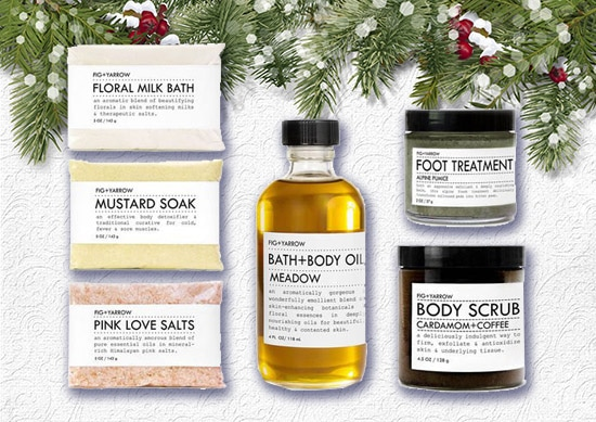 Fig Yarrow Bath and Body Kit with White Christmas Background.