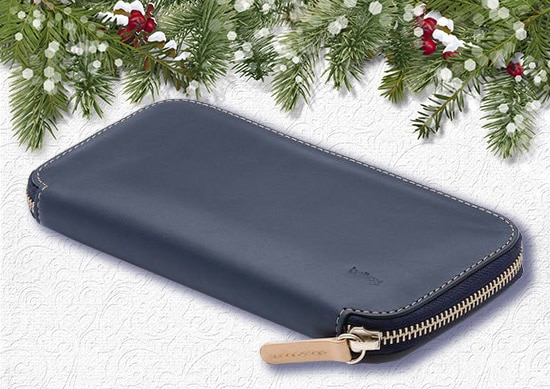 Bellroy leather and high quality zipper with Christmas Background.