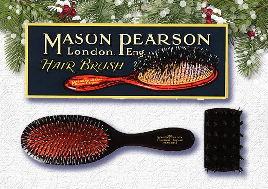 Mason Pearson Handy Brush with Christmas Background.
