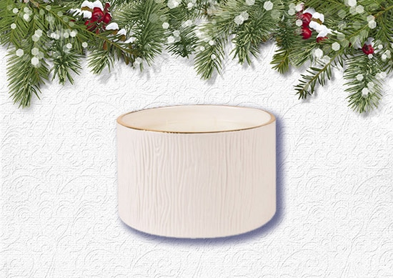 Thymes Fraser Fir Ceramic Candle with White Christmas Background.
