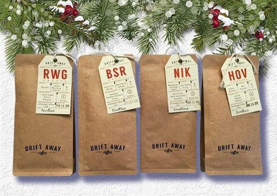 Drift away Coffee in the Bags with white Christmas Background.
