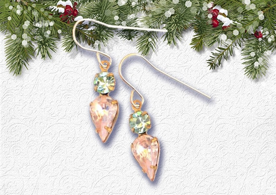 Earrings for women with white Christmas Background..