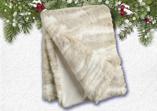 Lvory Faux Throw Rug with White Christmas Background.