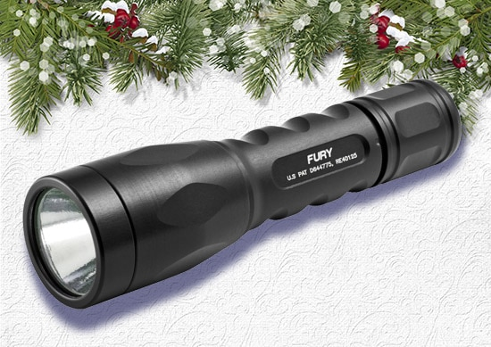 Sure Fire LED Flashlight White Christmas Background..