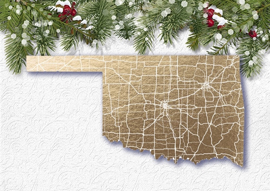 Minted Foil Map Print white Christmas Background.