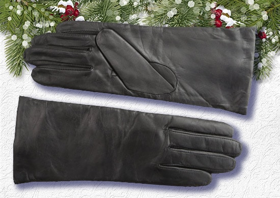Fownes Leather Gloves white Christmas Background.
