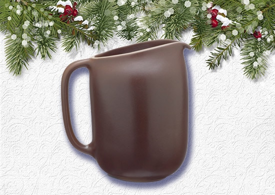 Heath Ceramics Pitcher with White Christmas Background.