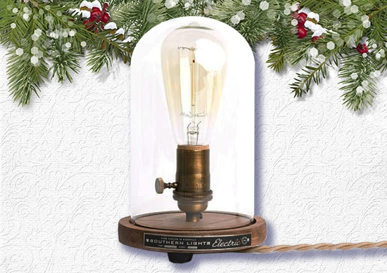 Bell Jar Table Lamp White Christmas Background.
