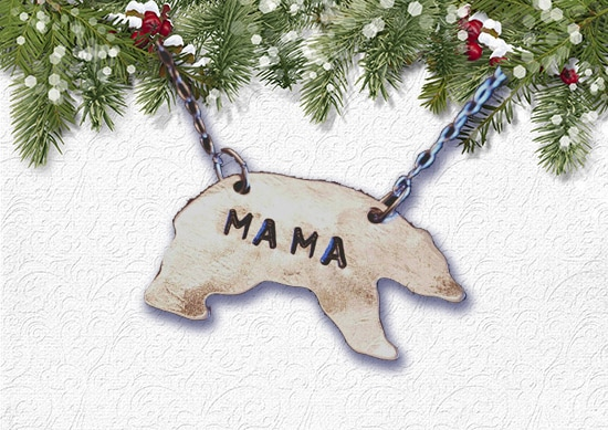 Mama Bear Necklace with white Christmas Background..