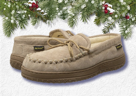 Old Friend Cloth Moccasin with White Christmas Background.