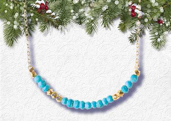 Morse Code Necklace white Christmas Background.