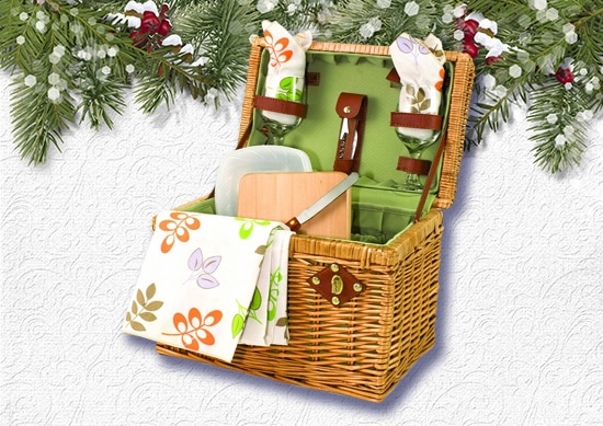 Napa Basket for picnic time with White Christmas Background.