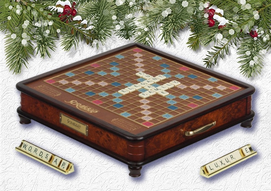 Scrabble Luxury Edition with white Christmas Background.