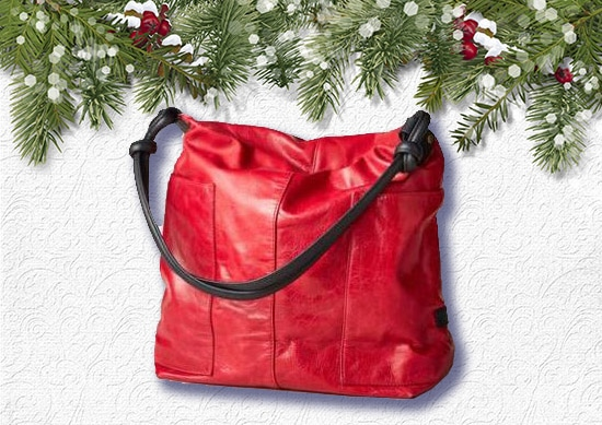 Sundance Slouch Bag with white Christmas Background.