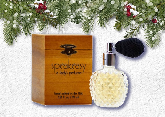Speakeasy lady perfume with White Christmas Background.
