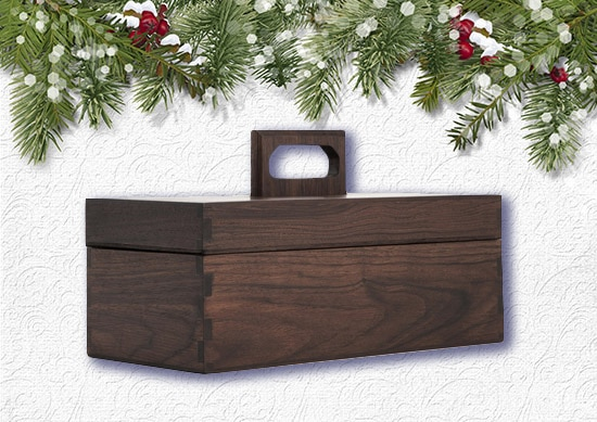 Poritz & Studio Walnut Toolbox with white Christmas Background.
