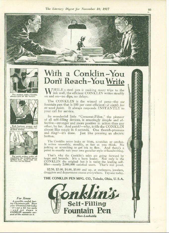 vintage conklin fountain pen ad advertisement