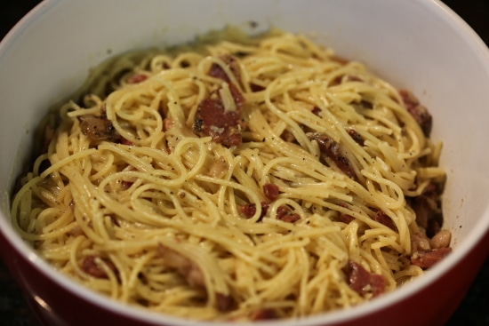 homemade sausage pasta carbonara in bowl