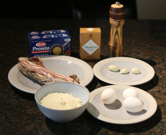 ingredients for one-pan pasta carbonara