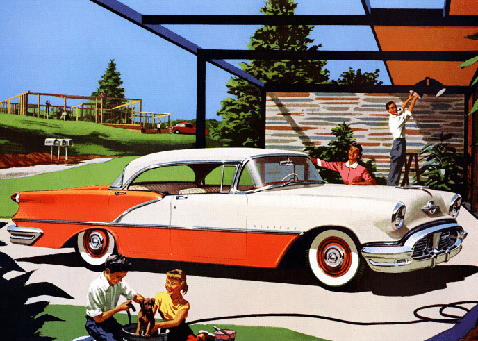 1950s suburbs washing car happy family illustration