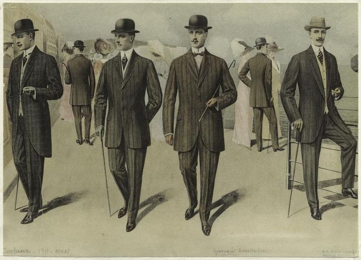 victorian gentlemen walking suits hats mustaches illustration
