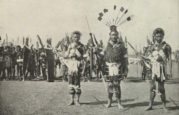 vintage male indians elaborate costume display ceremony