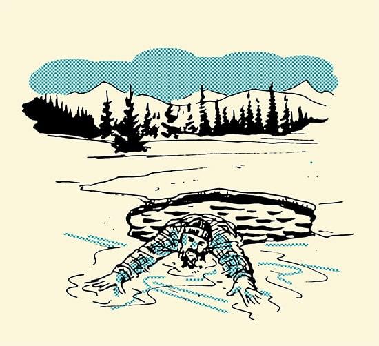 man fallen in ice beard save life illustration