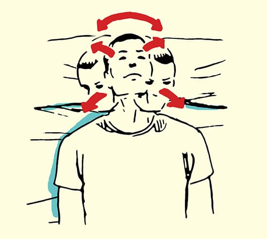 neck mobilization stretch morning routine illustration