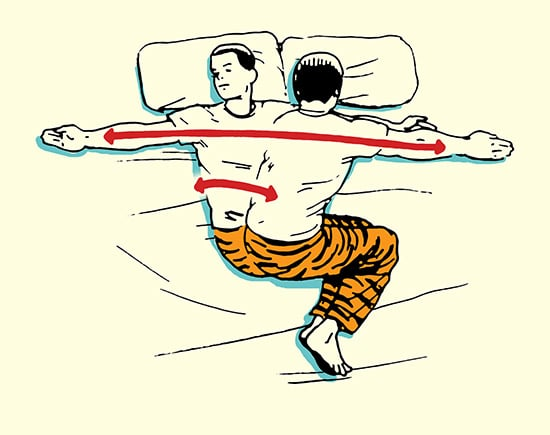 Side lying reach morning stretch routine illustration.