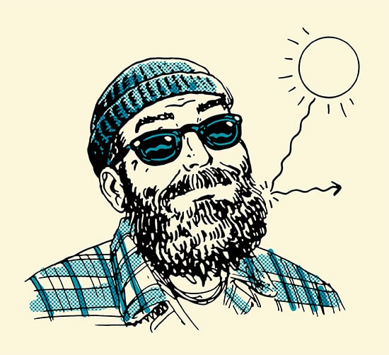 man with beard sun rays bouncing off illustration