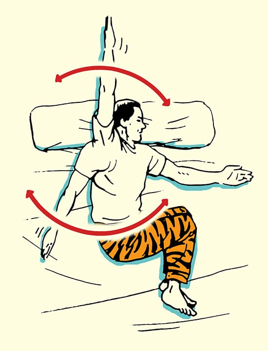 Shoulder clocks stretch morning stretching routine illustration.