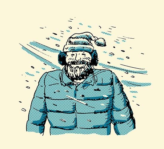 man with beard walking in snow smile illustration