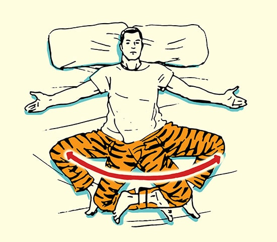 Hip rotators stretch morning stretching routine illustration.