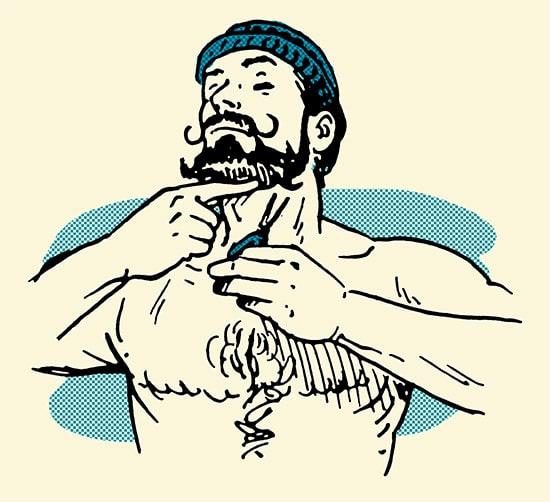 man trimming beard with scissors illustration